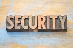 Extracto de la palabra de la seguridad en el tipo de madera Imagen de archivo