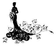 Extracto de la silueta de la boda del ramo de la novia Foto de archivo libre de regalías