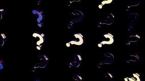 Extracto de los signos de interrogación móviles en fondo negro animaci?n Fondo de mudanza con los signos de interrogación duplica ilustración del vector