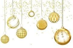 Extracto de oro del fondo de Navidad del vector Orna de la nieve de la bola de la Navidad Foto de archivo libre de regalías