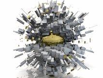 Extracto de Scape de la ciudad de Chrome del oro ilustración del vector