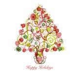 Extracto del árbol de navidad con los círculos de los corazones de los remolinos ilustración del vector