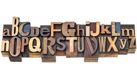 Extracto del alfabeto en prensa de copiar Foto de archivo