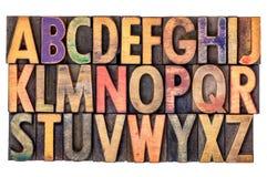 Extracto del alfabeto en tipo de madera del vintage Foto de archivo