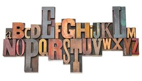 Extracto del alfabeto en tipo de madera de la prensa de copiar del vintage fotografía de archivo libre de regalías