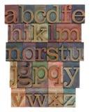 Extracto del alfabeto - tipo de la prensa de copiar Imágenes de archivo libres de regalías