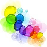 Extracto del color con las burbujas y los descensos transparentes Imagenes de archivo