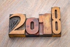 extracto del número de 2018 años en tipo de madera de la prensa de copiar Fotografía de archivo