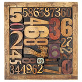 Extracto del número en el tipo de madera Imágenes de archivo libres de regalías