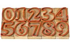 Extracto del número en el tipo de madera Fotografía de archivo libre de regalías