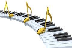 Extracto del teclado de piano con las notas musicales de oro Imagenes de archivo