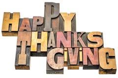 Extracto feliz de la palabra de la acción de gracias en el tipo de madera Fotos de archivo libres de regalías