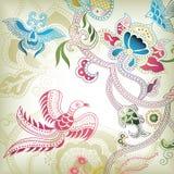 Extracto floral con el pájaro stock de ilustración