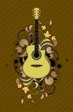 Extracto floral con la guitarra stock de ilustración