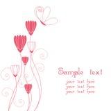 Extracto floral con la tarjeta de felicitación de la mariposa Foto de archivo libre de regalías
