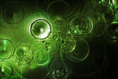 Extracto futurista de las gotas de agua en un agua verde Imagen de archivo libre de regalías