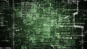 Extracto futurista que programa el flythrough inconsútil del código verde ilustración del vector
