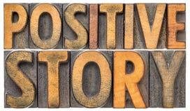 Extracto positivo de la palabra de la historia en el tipo de madera imágenes de archivo libres de regalías