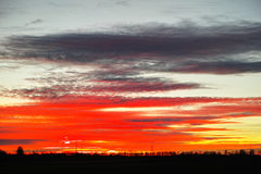 Extracto rojo del cielo de la puesta del sol Fotos de archivo