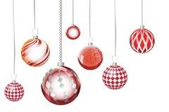 Extracto rojo del fondo de Navidad del vector Ornamen de la nieve de la bola de la Navidad Imagen de archivo