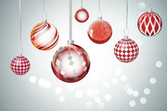 Extracto rojo del fondo de Navidad del vector Ornamen de la nieve de la bola de la Navidad Fotografía de archivo