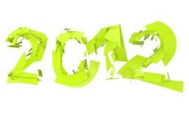 Extracto splitted poniendo letras a 2012 en el verde de neón Fotos de archivo libres de regalías
