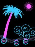 Extracto tropical de la palmera y del océano ilustración del vector