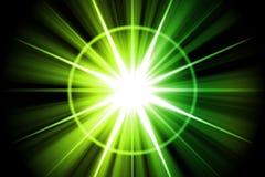 Extracto verde del resplandor solar de la estrella Fotografía de archivo
