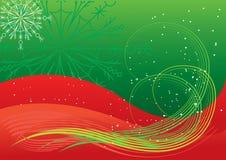 Extracto verde rojo del invierno del vector. Postca de la Navidad Imágenes de archivo libres de regalías