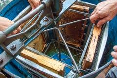 Extractor centrífugo práctico azul con el peine de la miel Fotografía de archivo
