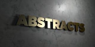 Extractos - texto del oro en fondo negro - imagen común libre rendida 3D de los derechos ilustración del vector