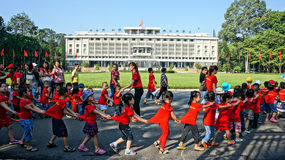 Extracurricular activity, kid visit Independence palace Stock Photos