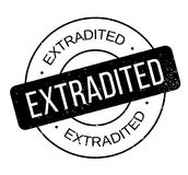 Extradited rubber stamp. Grunge design with dust scratches. Effects can be easily removed for a clean, crisp look. Color is easily changed Stock Images