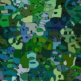 Extrahieren Sie befleckte Musterhintergrundmilitärische grüne und blaue Farbe mit schwarzen Entwürfen - moderne Malereikunst Lizenzfreies Stockfoto