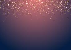 Extrahieren Sie fallende goldene Funkelnlichtbeschaffenheit auf einem dunkelblauen Ba vektor abbildung