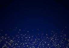 Extrahieren Sie fallende goldene Funkelnlichtbeschaffenheit auf einem dunkelblauen Hintergrund mit Beleuchtung lizenzfreie abbildung