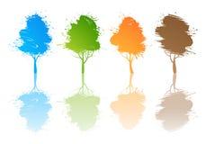 Satz farbige Bäume Lizenzfreie Stockbilder