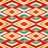 Extrahieren Sie farbige Polygone im nahtlosen Muster des Retrostilschmutz-Effektes Lizenzfreie Stockfotografie