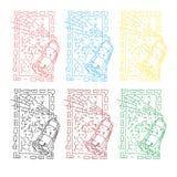Extrahieren Sie Farbsatz des Spritzlackierverfahrenbildes im quadratischen Rahmen Stockbild