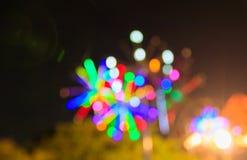 Extrahieren Sie unscharfes bokeh in Stadtnachtbuntem schönem mit Kopienraum stockfotos