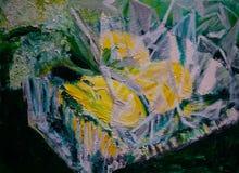 Extrahiertes Ölgemälde, Zitronen in der quadratischen Glasschüssel, in Zellophan gewickelt lizenzfreie stockfotografie