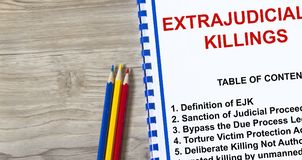 Extrajudicial killings or EJK concept. Provided with topics related to EJK in a cover page of a lecture Royalty Free Stock Photos