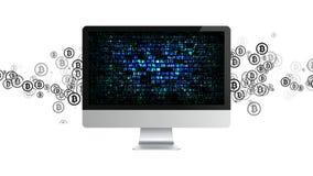 Extraktion von Cryptocurrency Bergbau Bitcoin Bergbau der Schlüsselwährung lizenzfreie stockbilder