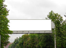 Extralarge Billboard. The superbig billboard among trees over the main street Stock Image