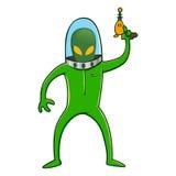 Extranjero en el traje de espacio que sostiene el arma del laser Foto de archivo