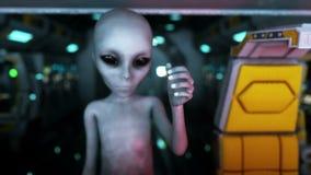 Extranjero en vehículo espacial mano que alcanza hacia fuera con el planeta de la tierra Concepto futurista del UFO Animación cin ilustración del vector
