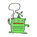 extranjero extraño de la historieta pequeño con la burbuja del discurso ilustración del vector
