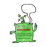 extranjero extraño de la historieta pequeño con la burbuja del discurso stock de ilustración
