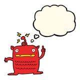extranjero extraño de la historieta pequeño con la burbuja del pensamiento libre illustration