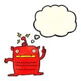 extranjero extraño de la historieta pequeño con la burbuja del pensamiento ilustración del vector